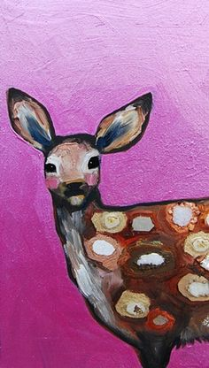 "#Tiny Jeweled Fawn in Metallic Hot Pink, oil and mixed media on recycled wood by Eli Halpin  6.25"" x 11""  2012  oil and mixed media on recycled wood  6.25"" x 11""    #Animal Art multicityworldtravel.com We cover the world over Hotel and Flight Deals.We guarantee the best price"