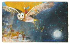 signed and dated archival print OWL - illustration from The picture book THE WHISPER Printed on 17 x 22 Archival Paper