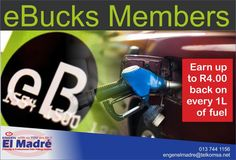 eBucks members can now earn up to back in eBucks on every litre of fuel they buy at Engen petrol stations. Exclusively available at Engen petrol stations. Start earning with El Madré Motors-Engen today! Contact us for any inquires on 013 744 1156 Filling Station, Motors, Motorbikes
