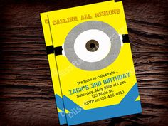 Minion Birthday Invitation by BlissfulBethDesigns on Etsy, $10.00