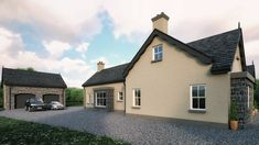 traditional cottage outside Dunloy Ballymena by slemish design studio architects. Bungalow Exterior, Bungalow House Design, House Designs Ireland, Carport With Storage, Kitchen Living, Living Room, Cottage Plan, Georgian Homes, Newcastle