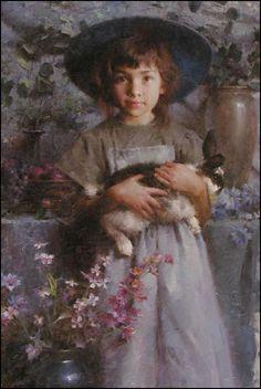 """Her Pet Rabbit"" by Morgan Weistling, born American Genre & Figure Painter & Illustrator . Figure Painting, Painting & Drawing, Morgan Weistling, Portrait Art, Portraits, Munier, Beautiful Paintings, Paintings Famous, Oil Paintings"