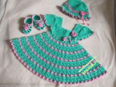 Kleid, Hut und Füßlinge, um Mädchen häkeln ... Photo # 1