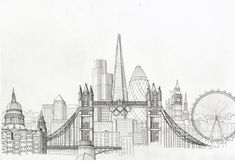 new york city skyline drawing New York Drawing, London Drawing, Cityscape Drawing, City Drawing, Landscape Drawings, City Landscape, London Skyline, London City, Building Sketch