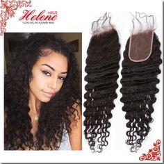 헬렌 처리되지 않은 처녀 브라질 깊은 웨이브 폐쇄 표백 된 매듭 스위스 레이스 폐쇄 인간의 머리 곱슬 폐쇄 무료 배송