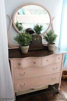 Antique Dresser with custom Color of Chalk Paint® decorative paint by Annie Sloan. 1 oz. Old White, .25 oz. Antoinette, .25 oz. Scandinavian Pink