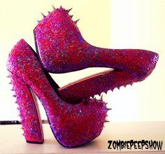 Glitter Cotton Candy Chunky Platform Pumps Heels by kaylastojek