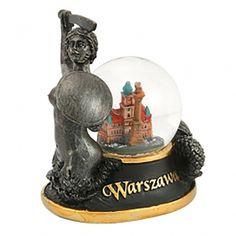 Snieglente 45 mm - Varšuvos undine. Rankomis nudažytas sniego rutulys, kurio viduje yra Karališkoji pilis ir Žygimanto kolona. #varšuva Snowball, Snow Globes, Warsaw, Cool Gadgets, Mermaid, Castles, Crates, Young Women