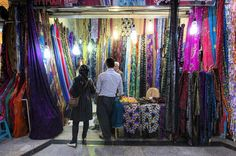 Colorful Kurdish Fabrics at the Bazaar in Sinê City, Kurdistan Province, Iran.
