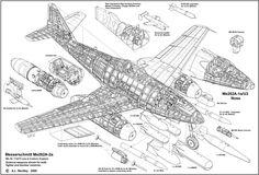 Messerschmitt Me262A-2a Cutaway
