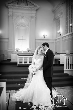 Bride and Groom alone in Robert Carr Chapel on the campus of TCU in Fort Worth, Texas.  Photo by Tracy Autem Photography.