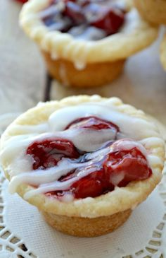 Cherry Pie Cookie Cups uses refrigerated sugar cookie dough and canned pie filling!