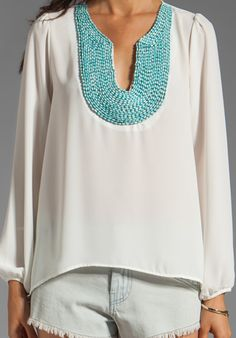 EIGHT SIXTY Beaded Blouse in White - New