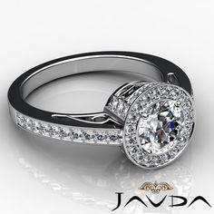 Round Diamond Engagement Halo Pave Set Ring GIA I Color VS2 18K White Gold 2 3ct   eBay