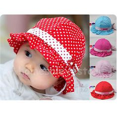 Sweet Baby Trottie Infant Polka Dot Cotton Hat Summer Sun Hat Princess Cap New Baby Pom Pom Hat, Baby Sun Hat, Baby Hats, Hat Patterns To Sew, Sewing Patterns, Baby Dress Design, Baby Frocks Designs, Baby Sewing Projects, Summer Hats