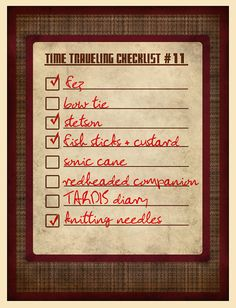 Time travel checklist poster $16