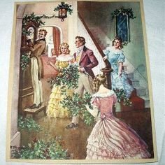 vintage victorian decorating ideas | Victorian Christmas Gathering Decorating Home Vintage Lithograph Print