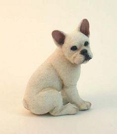"""Made and shared by Kerri Pajutee aka Paju-tee who explains that this is a """"dollhouse miniature French bulldog sculpture w/ natural fiber coat"""". Miniature French Bulldog, French Bulldog Art, French Bulldogs, Needle Felted Animals, Felt Animals, Needle Felting, Cute Polymer Clay, Polymer Clay Projects, Needle Felted Ornaments"""