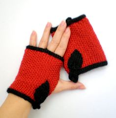 Women Wool Fingerless Gloves aka Texting Gloves  Red and by ohmay (Accessories, Gloves & Mittens, short, wool, knit handwarmers, teens, cccoe team, etsyknitters team, fingerless gloves, black, red, women accessories, fashion outerwear, texting gloves, winter accessories)