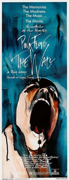 Cartaz do filme The Wall do Pink Floyd [1982] dirigido por Alan Parker.  O filme usa a  música, ao invés de diálogo convencional, para descrever a trajetória decadente de um roqueiro deprimido que, isolado em quarto de hotel assistindo a filmes de guerra, lentamente perde o contato com a realidade. 38s