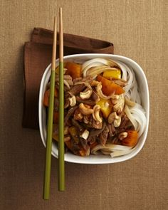 This zesty cashew pork with peppers starts with our slow cooker shredded pork recipe. Serve with rice noodles or steamed rice. Time for a stir-fry! Photo by Jeff Coulson.