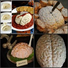 Brain cheese ball. Pimentos or food dye can be added to make the brain more pink colored. A tomato based sauce, such as marinara can be put under the brain as blood. The recipe would have to be doubled or tripled depending on the volume of the brain mould. You would only need to press the cheese ball into the mould and have it set for a few hours in the fridge. I believe the mould should be sprayed with canola oil to keep the cheese from sticking to it.