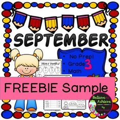 FREEBIE Sample from: No Prep! Grade 3! Math for September! Here are two free samples from this resource. Answer keys included!