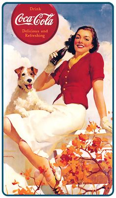 This is a beautiful jigsaw puzzle of a vintage beverage advertising art poster for Coca - Cola in the It features a woman enjoying a bottle of coke outside with her dog - Refresh Yourself!