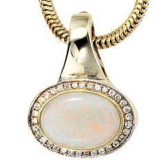 Damen-Einhänger teilrhodiniert 14 Karat (585) Gelbgold 34 Diamant 0.26 ct. 1 Opal 25.7 mm - http://www.wonderfulworldofjewelry.com/jewelry/charms/dameneinhnger-teilrhodiniert-14-karat-585-gelbgold-34-diamant-026-ct-1-opal-257-mm-de/ - Your First Choice for Jewelry and Jewellery Accessories