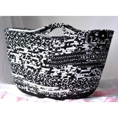 Handmade Moses Basket, Black and White Beauty, Unique Black and White... ($60) ❤ liked on Polyvore featuring home, home decor, small item storage, wexfordtreasures, hand made baskets, black and white home accessories, black white home decor, handmade baskets and shabby chic home decor