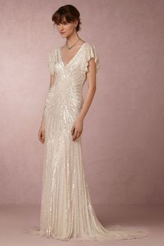 Cibella Gown from @BHLDN - love the beading, silhouette, and vintage glamour vibe...absolutely despise those sleeves