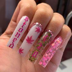 Acrylic Nails Coffin Pink, Long Square Acrylic Nails, Simple Acrylic Nails, Dope Nail Designs, Cute Acrylic Nail Designs, Exotic Nail Designs, Drip Nails, Glow Nails, Bling Nails