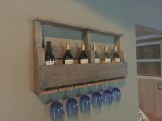 Wine rack built with reclaimed pallet wood