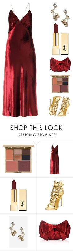 """""""Cherry Bombshell."""" by refinedpunk ❤ liked on Polyvore featuring Stila, Marc Jacobs, Yves Saint Laurent, Giuseppe Zanotti, Topshop, Judith Leiber, Christmas, thanksgiving, friendsgiving and riverdale"""
