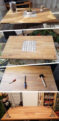 Table basse #DIY #faitmain bois massif chêne, pied épingle #tablebasse #coffeetable #modern