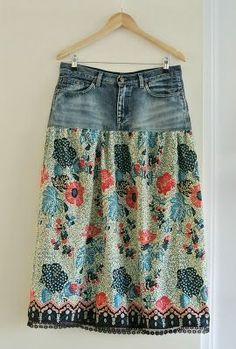 Old jeans turned into new skirt