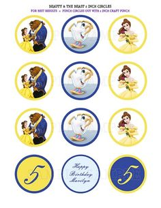 Beauty & The Beast Belle 2 Inch Cupcake Toppers - You Print   thepartybean - Digital Art  on ArtFire