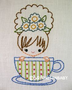 Items similar to Teacup Tea Party Cutesie Girls Digital Embroidery Patterns on Etsy Hand Embroidery Patterns, Vintage Embroidery, Embroidery Applique, Cross Stitch Embroidery, Machine Embroidery, Lazy Daisy Stitch, Embroidery Techniques, Needlework, Sewing Projects