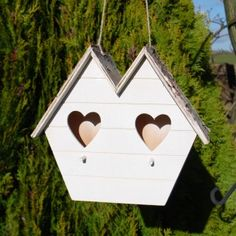 Hanging Decorative Bird House with Twin Heart Design £9.99