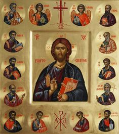Whispers of an Immortalist: Icons of Our Lord Jesus Christ 17 Christ and Apostles Christ Pantocrator, Byzantine Icons, Orthodox Icons, Religious Art, Hula, Jesus Christ, Lord, Illustration, Painting