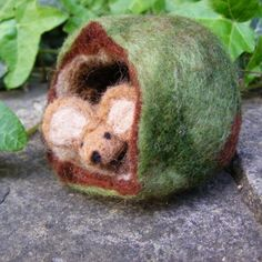 """Sweet little mouse in a house by   Cheryl Jackson of """"Sweet & Wooly"""", find her on Etsy~"""