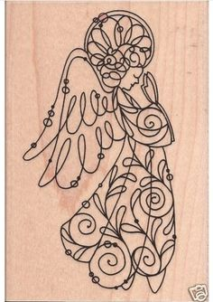 Angel rubber stamp Stampendous ANGELICA WIRE ANGEL rubber stamp Christmas | SeeSpotStamp - Craft Supplies on ArtFire