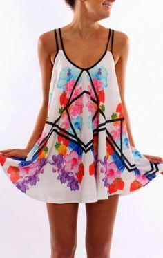 Black thin strap colorful dress