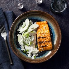 Smoky, spicy, moist and tender—that's how we describe the salmon in this recipe. Add to that: a crisp, green apple slaw, spiked with blue cheese to complement the buffalo spice.