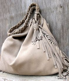 Slouchy Leather Fringe Bag in Taupe Stone Gray Suede by stacyleigh, $250.00