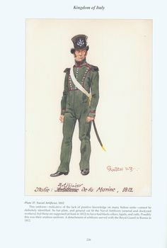 Kingdom of Italy: Plate 37: Naval Artillery Artificer, Private, 1812