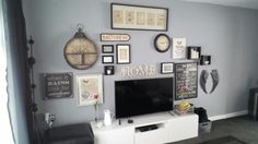 Gallery Wall over TV. Warm Pewter by Dulux. Dulux Warm Pewter, Front Rooms, Fireplace Wall, Living Room Paint, Apartment Living, Interior Design Living Room, Gallery Wall, Boat House, Grey Paint