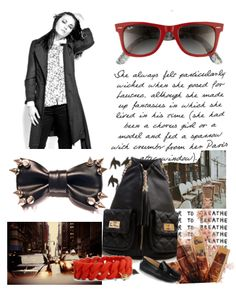 an MDLC by Maison De LaCour outfit, combined with a red Ray-Ban Wayfarer, a faux leather studded bow tie, a Forever 21 handbag and some Tod's Mocassins