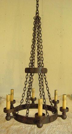 Large Wrought Iron Medieval Gothic Chandelier Cabin Light Castle Light   eBay