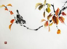 Japanese Ink Painting Ink art Asian art Sumi-e Suibokuga Flower and Birds painting Rice paper 17x13 inch A bird in autumn